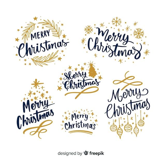 Colección de etiquetas de letras navideñas vector gratuito