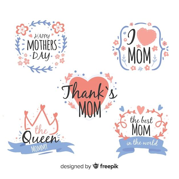 Colección etiquetas marco hojas día de la madre vector gratuito