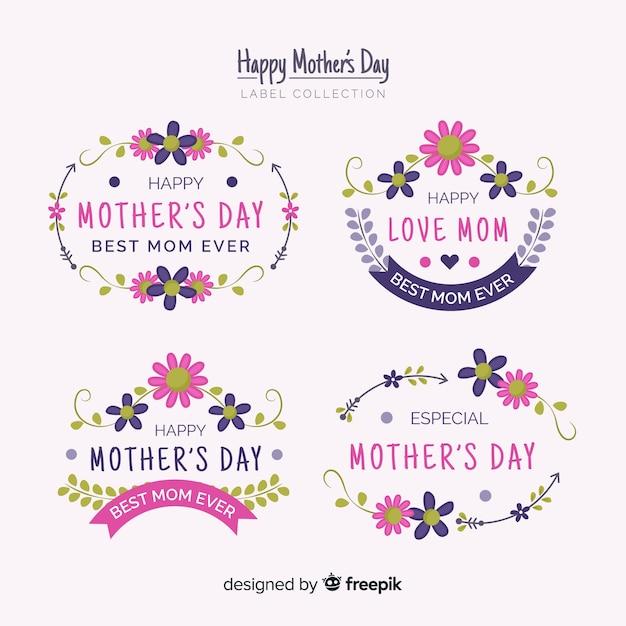 Colección etiquetas marcos florales día de la madre vector gratuito