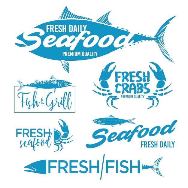 Colección de etiquetas de marisco vector gratuito