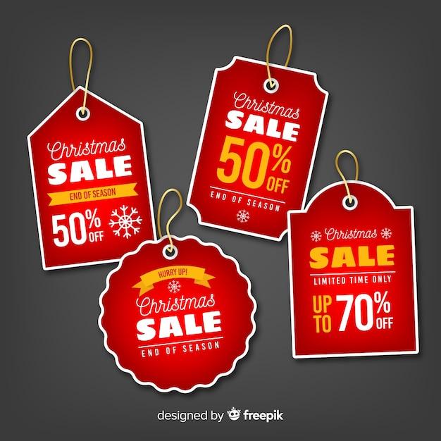 Colección de etiquetas de navidad vector gratuito