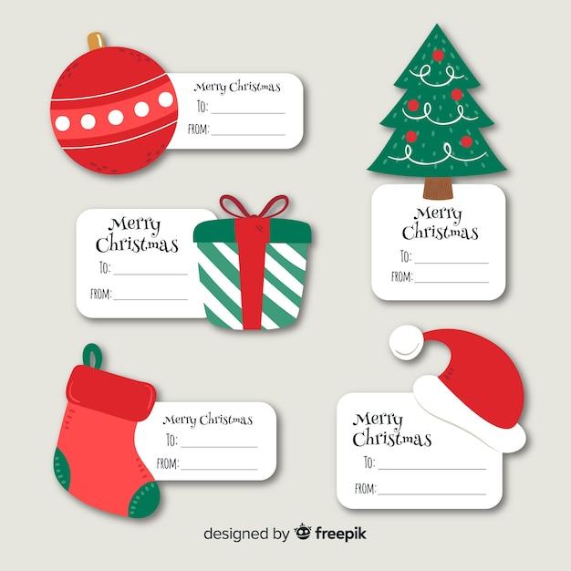 Colección de etiquetas navideñas dibujadas a mano vector gratuito