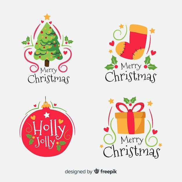 Colección de etiquetas navideñas de diseño plano vector gratuito