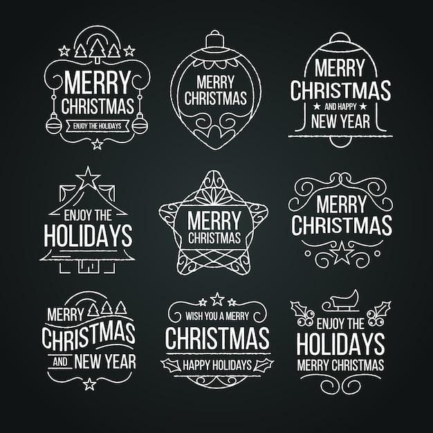 Colección de etiquetas navideñas en pizarra vector gratuito