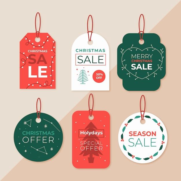 Colección de etiquetas navideñas vector gratuito