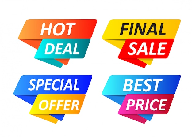 Colección de etiquetas de oferta especial, conjunto de iconos de elementos de banner. Vector Premium