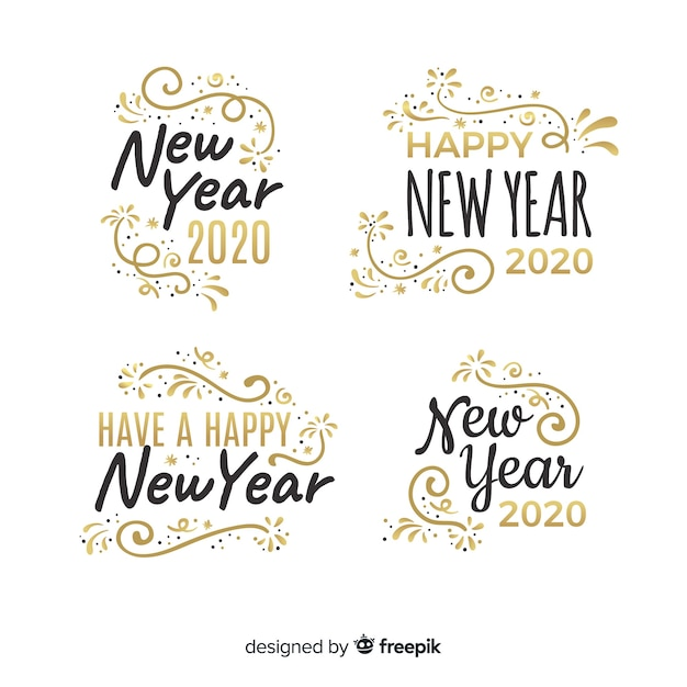 Colección de etiquetas planas de año nuevo 2020 vector gratuito