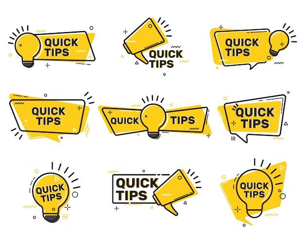 Colección de etiquetas planas de consejos rápidos vector gratuito