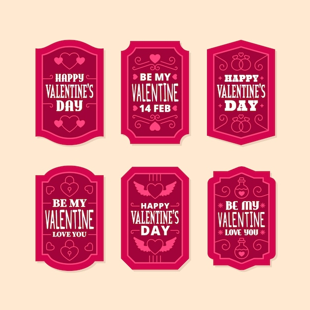Colección de etiquetas planas del día de san valentín vector gratuito