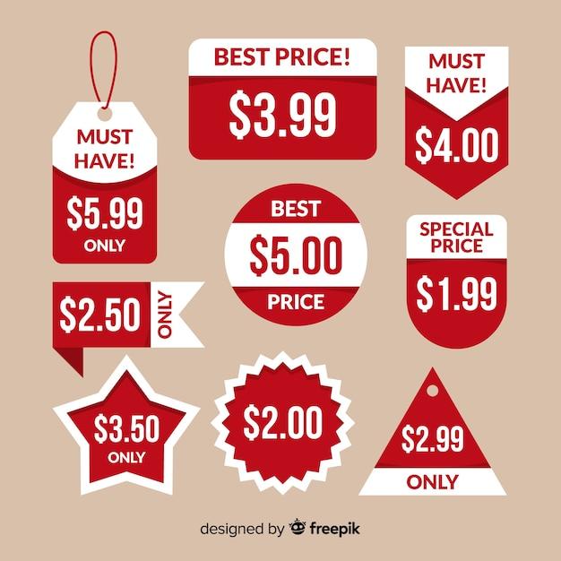 Colección etiquetas precios planas vector gratuito