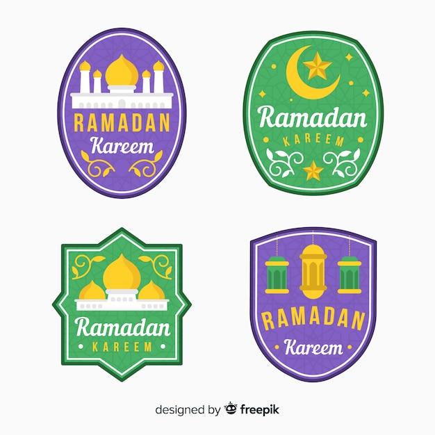 Colección de etiquetas de ramadán en diseño plano vector gratuito