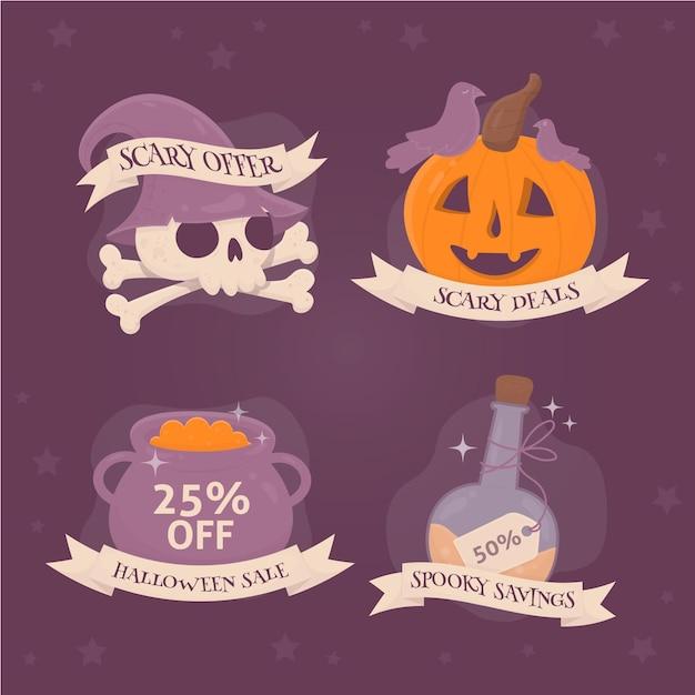Colección de etiquetas de rebajas de halloween dibujadas a mano vector gratuito