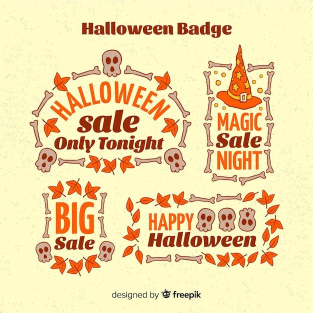 Colección de etiquetas de rebajas de halloween vector gratuito