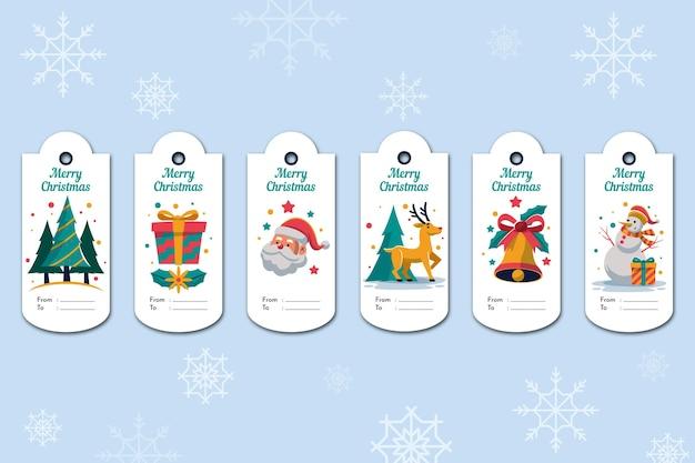 Colección de etiquetas de rebajas navideñas de diseño plano Vector Premium