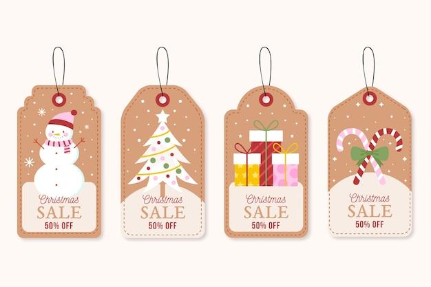 Colección de etiquetas de rebajas navideñas vintage vector gratuito