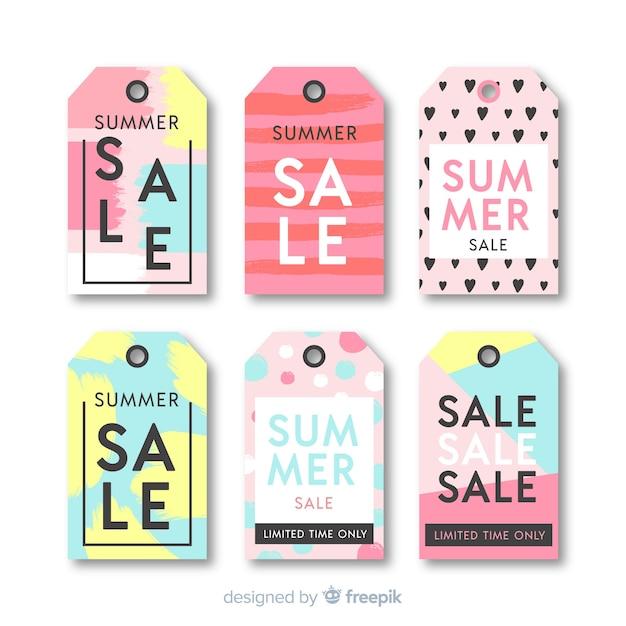 Colección etiquetas rebajas de verano coloridas vector gratuito