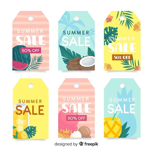 Colección de etiquetas de rebajas de verano coloridas vector gratuito