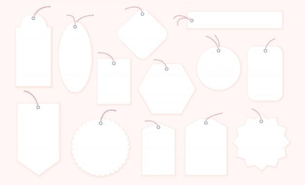 Colección de etiquetas de regalo de navidad en blanco Vector Premium