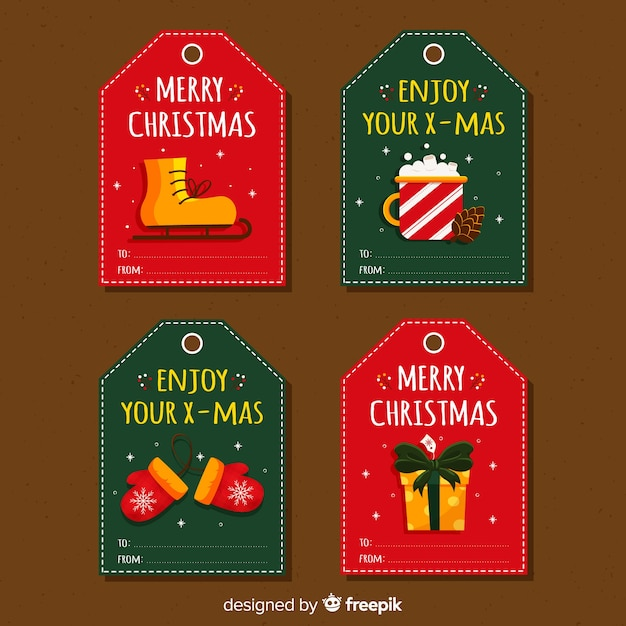 Colección de etiquetas de regalo de navidad vector gratuito