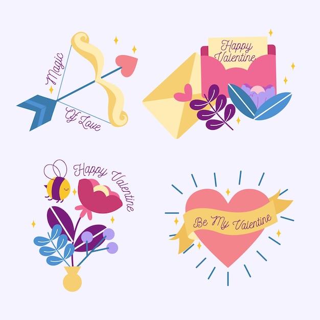 Colección de etiquetas de san valentín dibujadas a mano vector gratuito