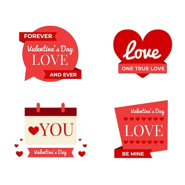 Colección de etiquetas de san valentín de diseño plano vector gratuito