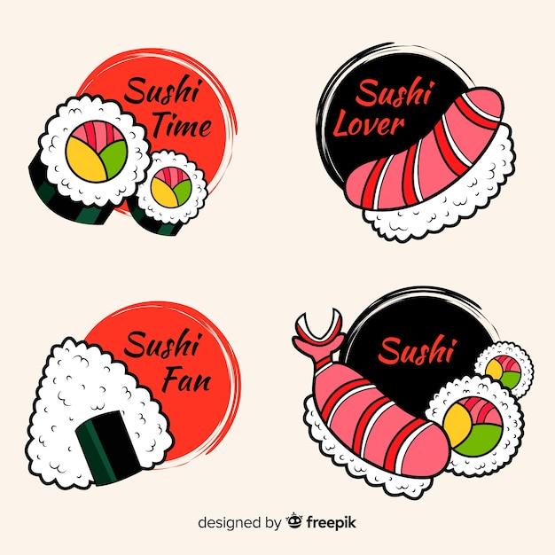 Colección de etiquetas de sushi vector gratuito