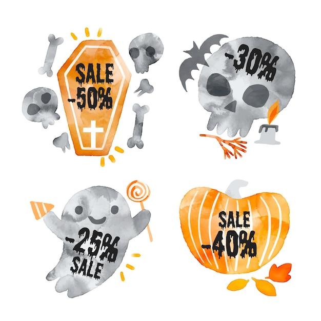 Colección de etiquetas de venta de halloween de acuarela vector gratuito