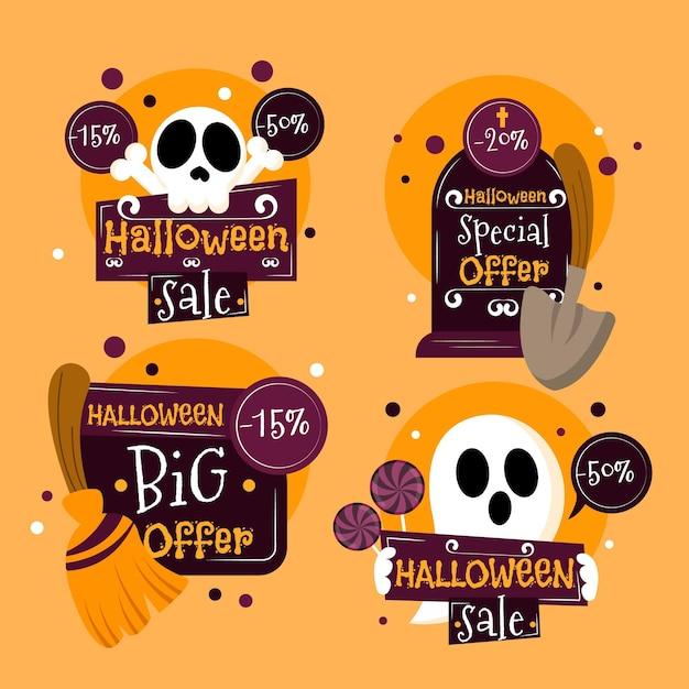 Colección de etiquetas de venta de halloween de diseño plano vector gratuito