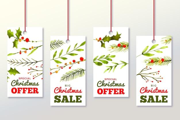 Colección de etiquetas de venta de navidad de acuarela vector gratuito