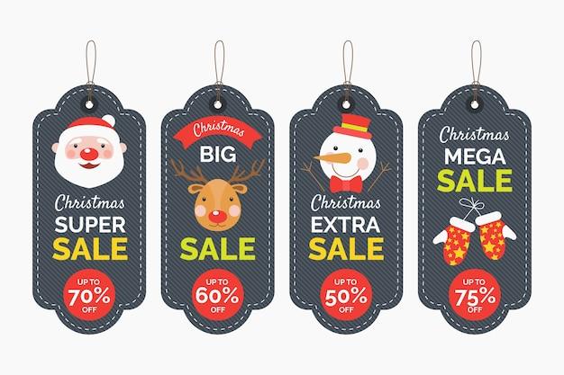 Colección de etiquetas de venta de navidad de diseño plano vector gratuito