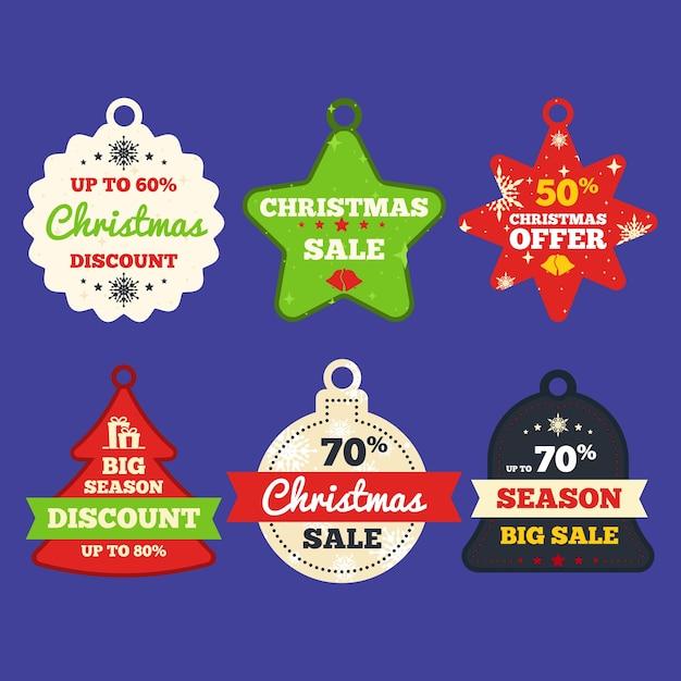 Colección de etiquetas de venta para navidad en diseño plano vector gratuito