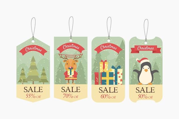 Colección de etiquetas de venta de navidad vintage vector gratuito