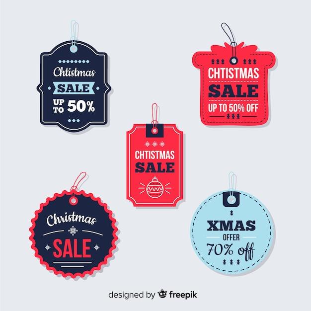 Colección de etiquetas de venta navideña en papel vector gratuito