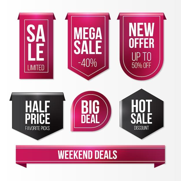 Colección de etiquetas de ventas realistas vector gratuito