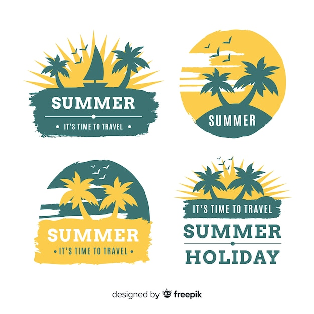 Colección etiquetas verano siluetas de palmera dibujadas a mano vector gratuito