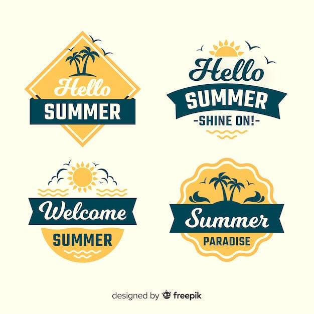 Colección de etiquetas de verano vintage vector gratuito