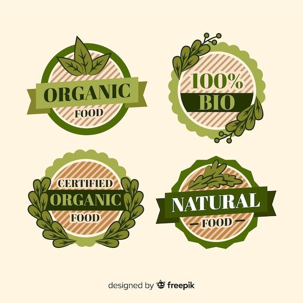 Colección etiquetas vintage comida orgánica vector gratuito