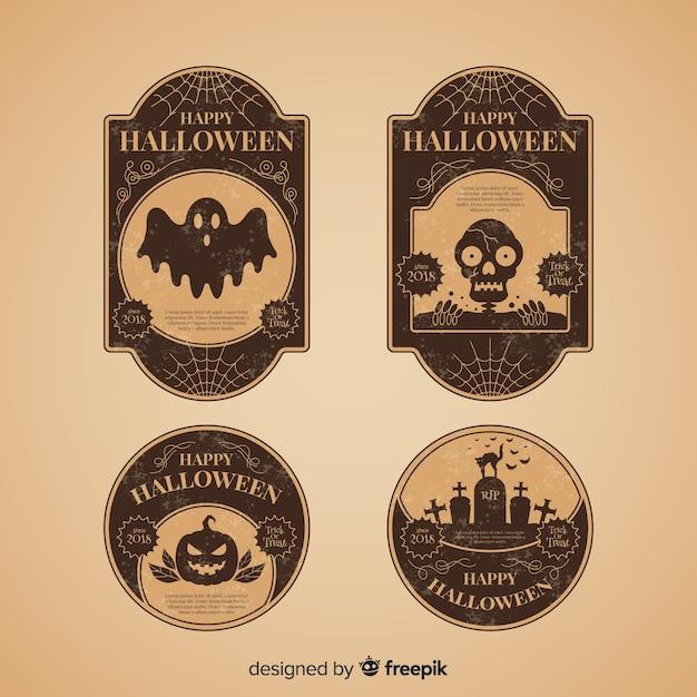 Colección de etiquetas vitage de halloween vector gratuito