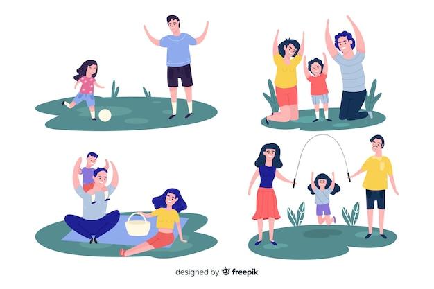 Colección familia en el parque dibujada a mano vector gratuito