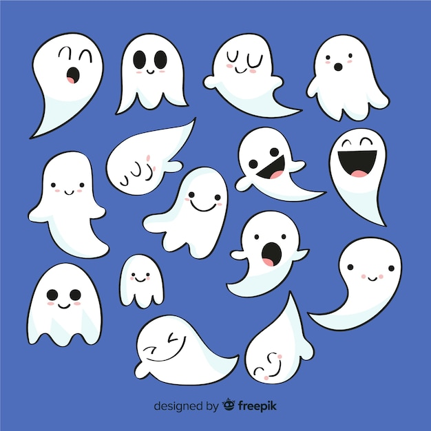 Colección de fantasmas de halloween en diseño plano vector gratuito