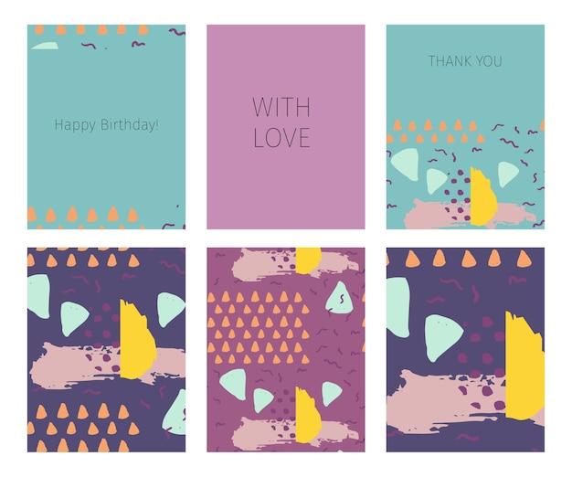 Colección de feliz cumpleaños, con amor, tarjetas de agradecimiento Vector Premium