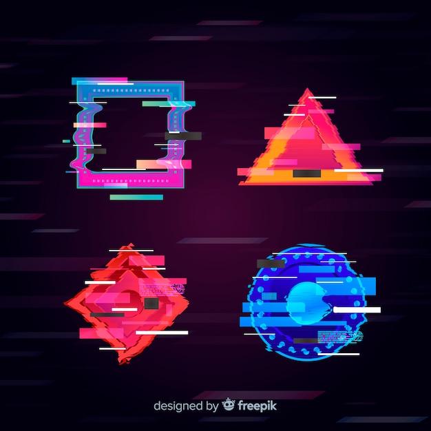 Colección de figuras geométricas con distorsión vector gratuito