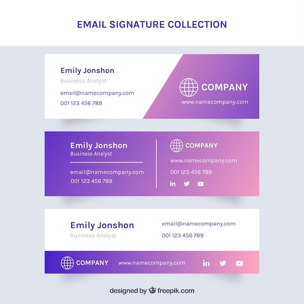 Colección de firma de correo electrónico en estilo degradado Vector Premium