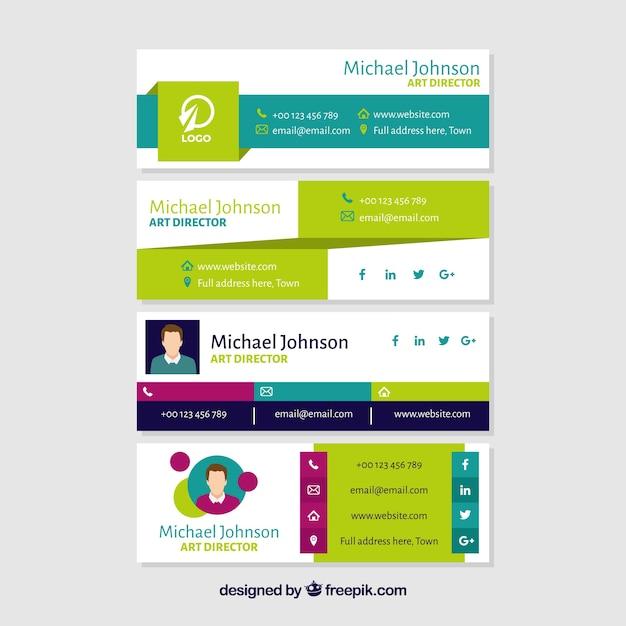 Colección de firma de correo electrónico en estilo plano vector gratuito