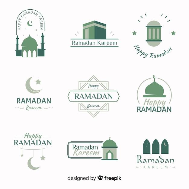 Colección flat de etiquetas de ramadán vector gratuito