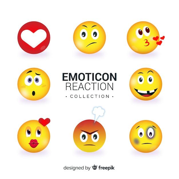 Colección flat de reacciones de emoticonos vector gratuito