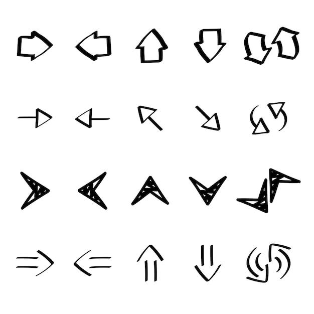 Colección de flecha doodles ilustración vector gratuito