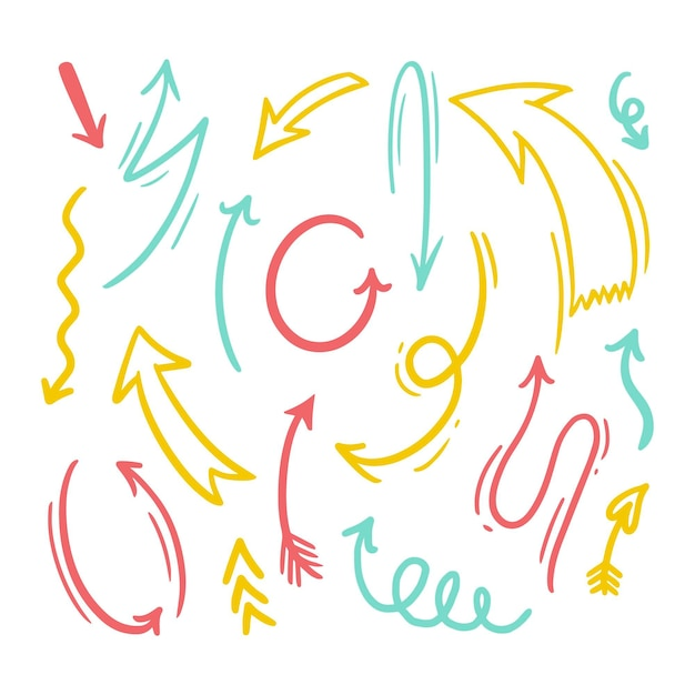 Colección flechas coloridas dibujadas a mano vector gratuito