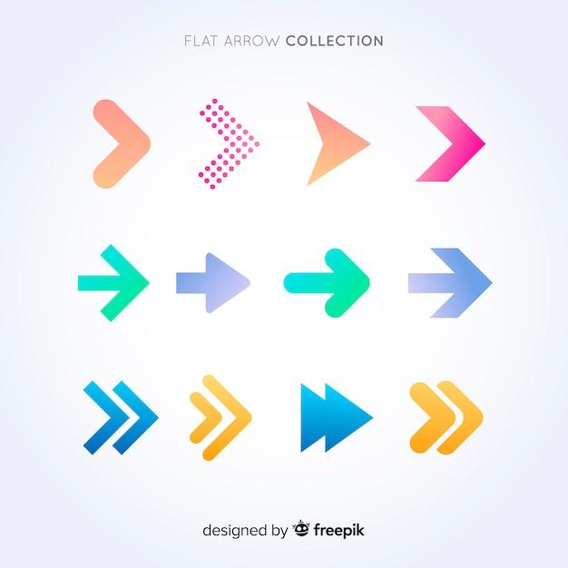 Colección de flechas en diseño plano vector gratuito