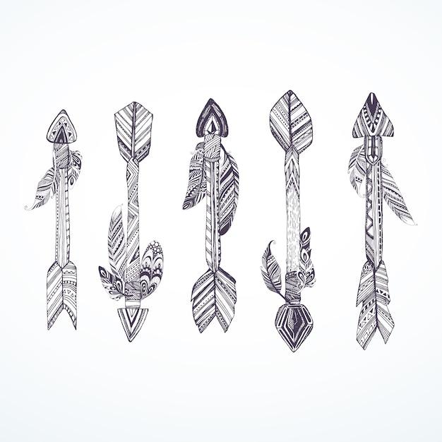 Colección de flechas con plumas Vector Premium